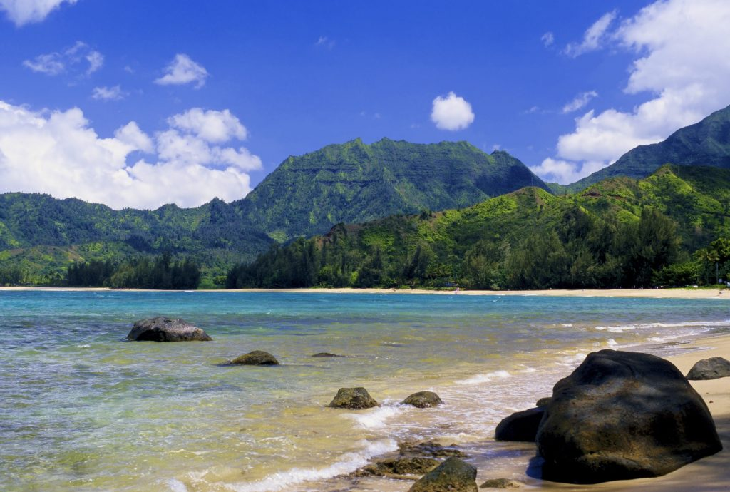 Spectacular Hanalei Bay is located on the north shore of Kauai, Hawaii.