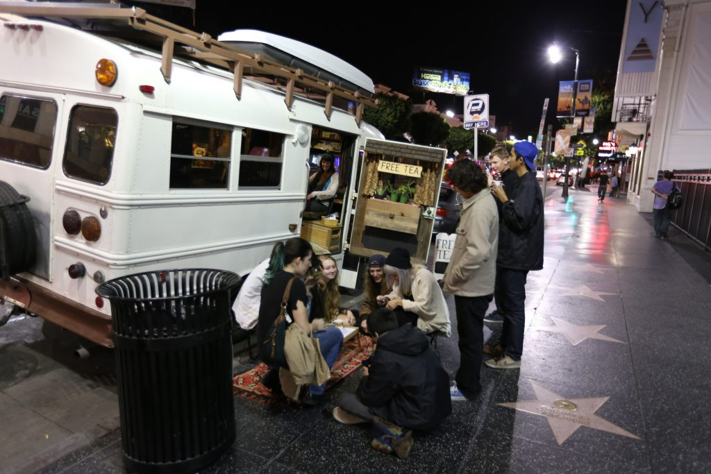 Edna Lu the tea bus at Hollywood Boulevard