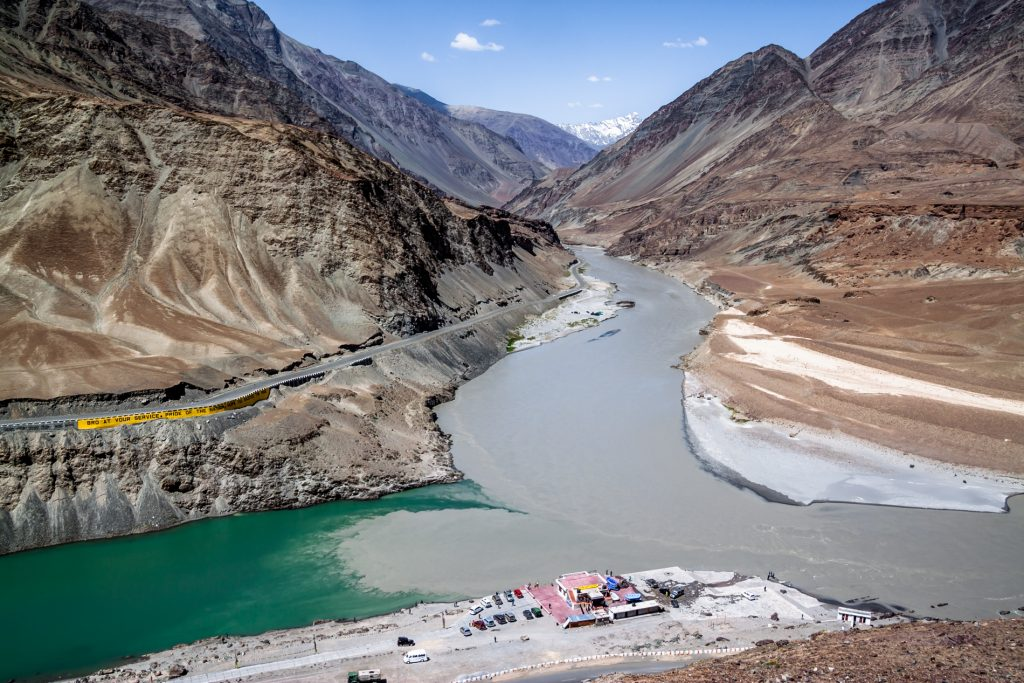 The Indus River that flows from Tibet into Pakistan.