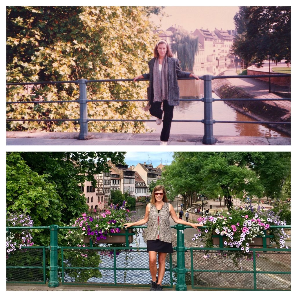 Lisa standing at a bridge in Strasbourg, France.
