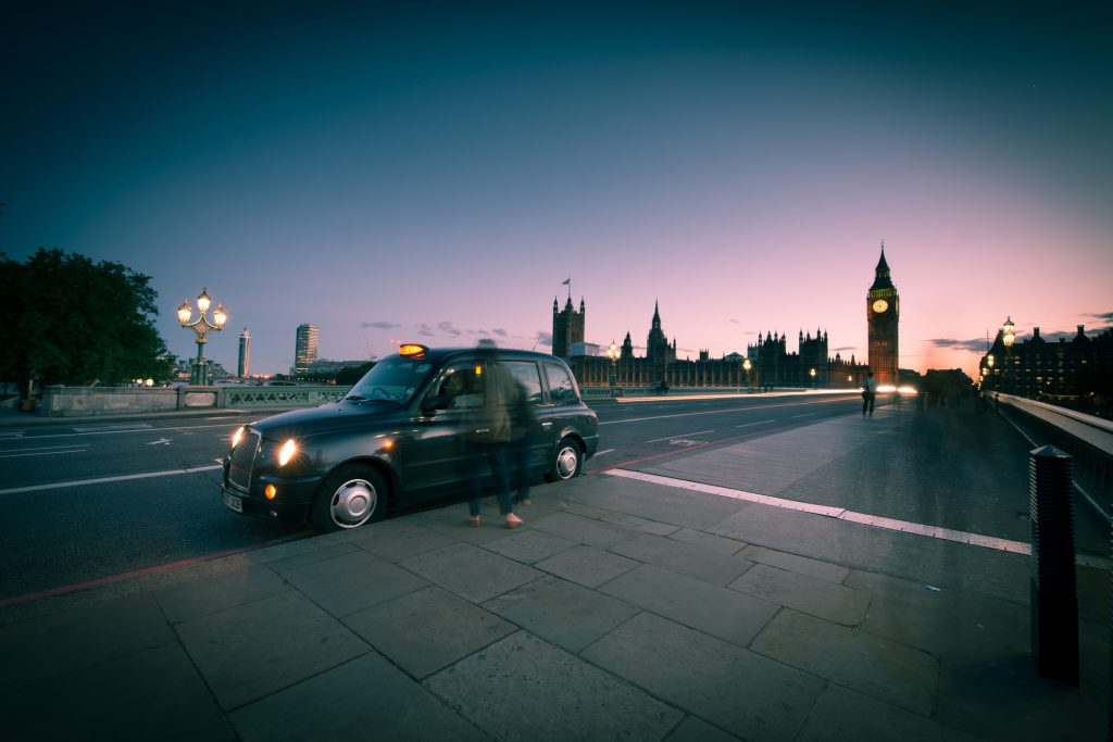 Taxi on Westminster bridge.