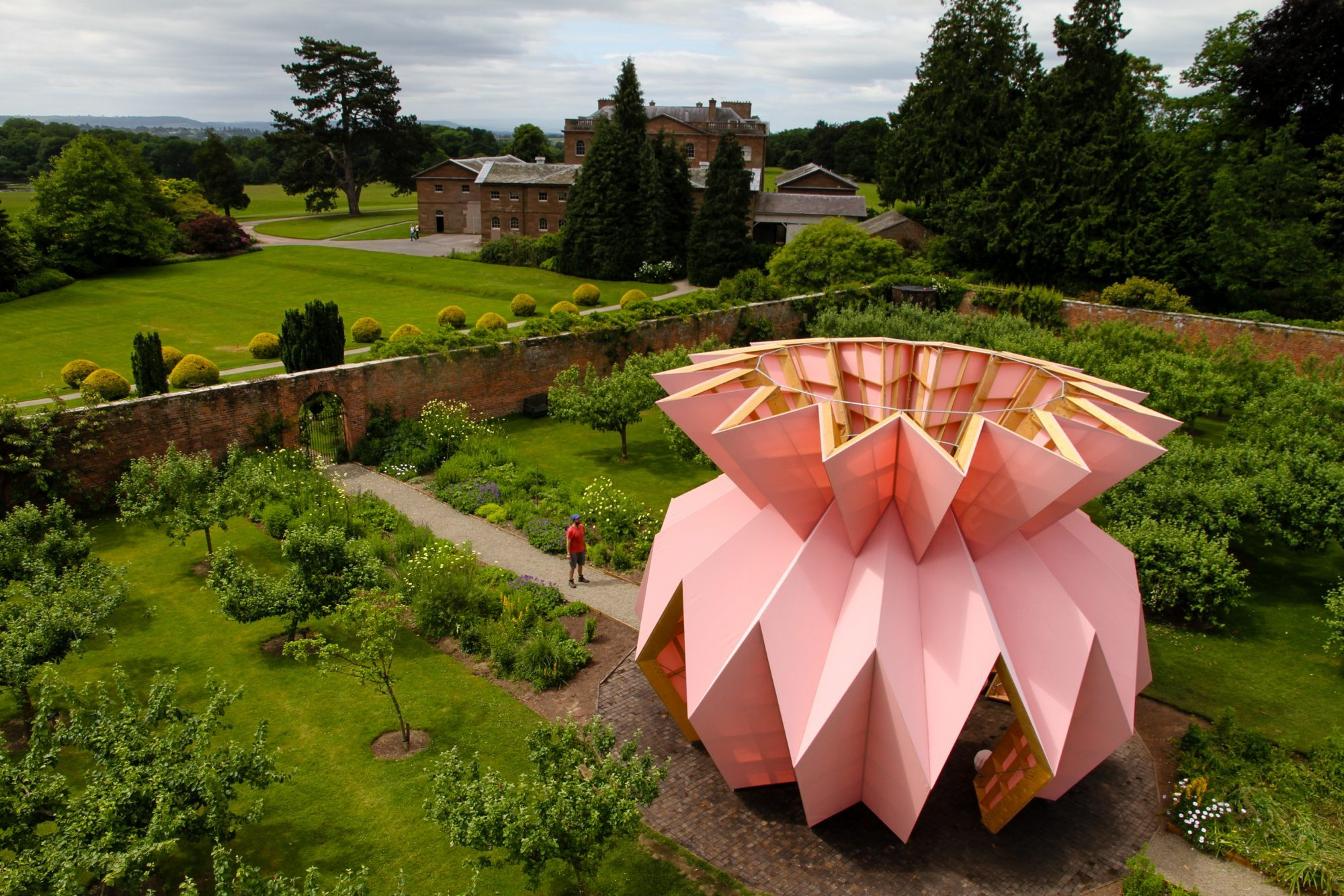 The sculpture within the walled garden.
