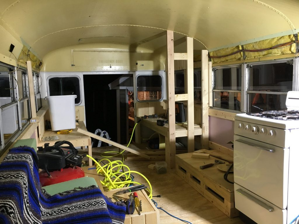 Working on the bus.