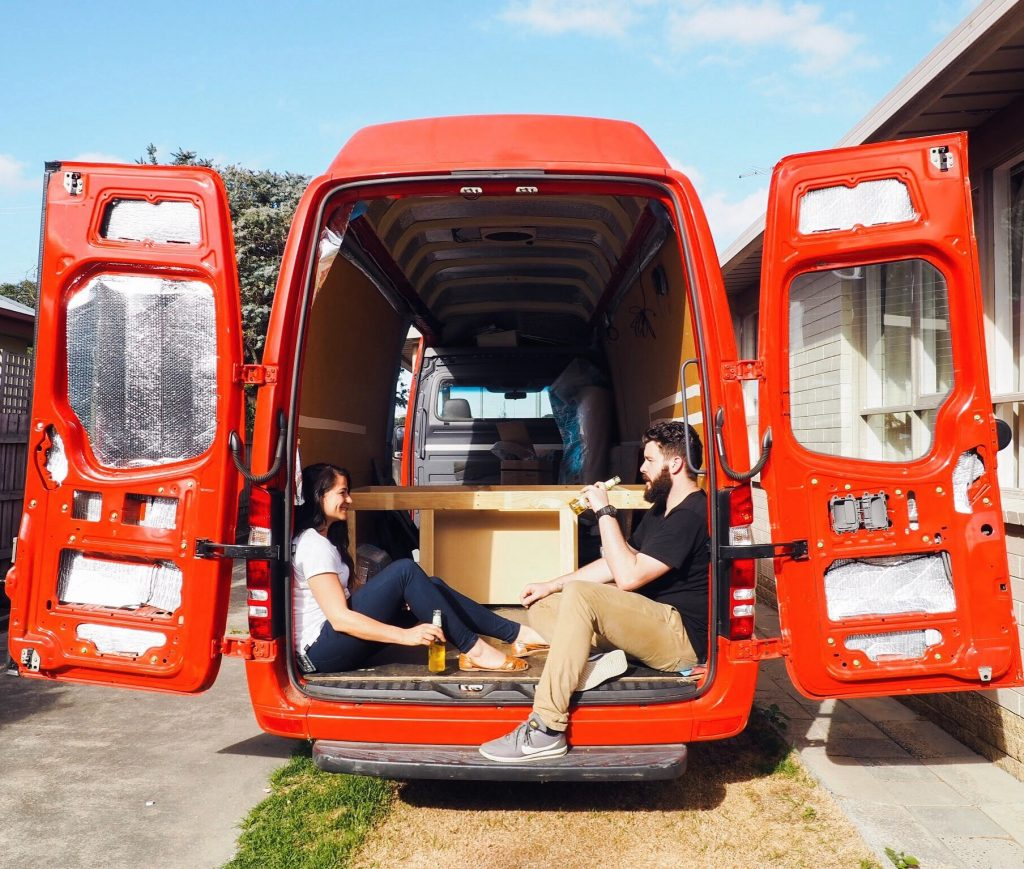 The couple from Victoria, Australia, have built a bed frame, kitchen cupboards, a sink and worktop.