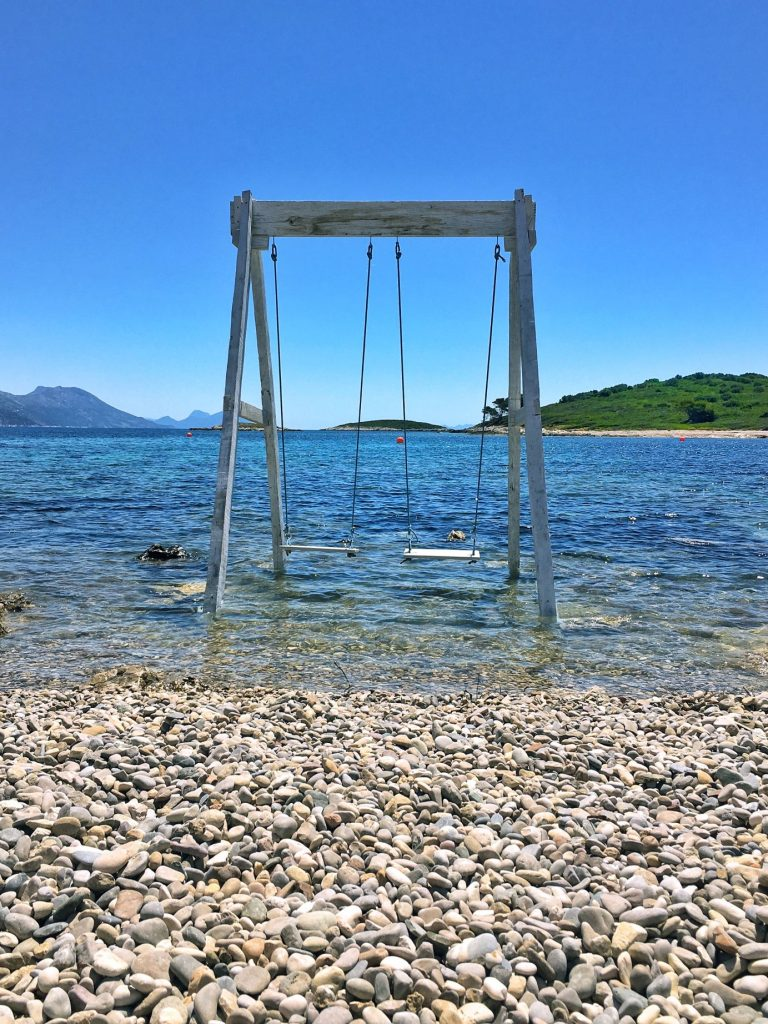 The sea swing has become a signature snapshot for Moro Beach.