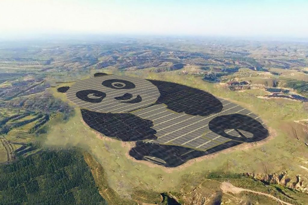 The Panda Power Plant in Datong, China, is shaped like its name. Image: Panda Green Energy Group