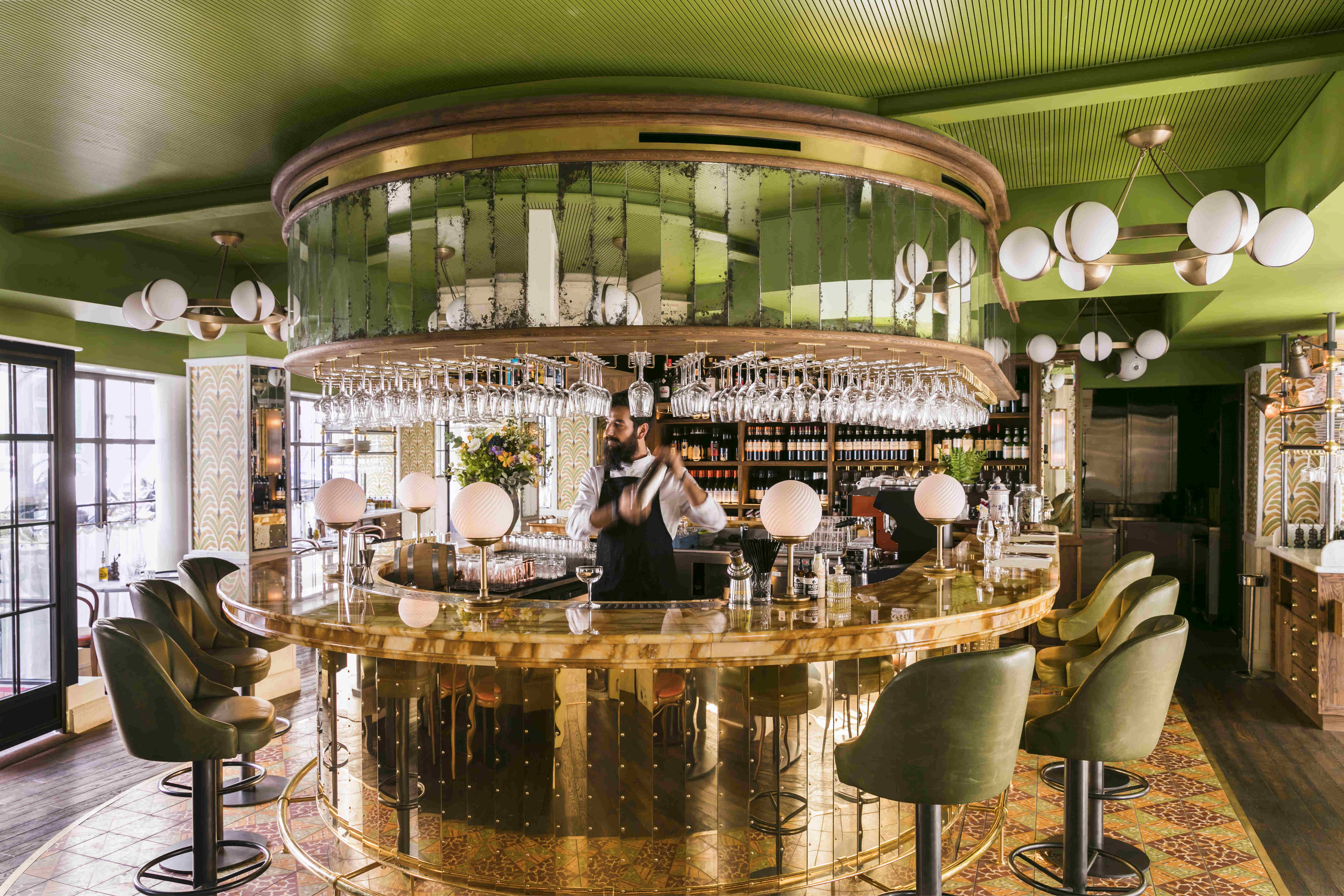 The bright green and metallic interior of the bar.