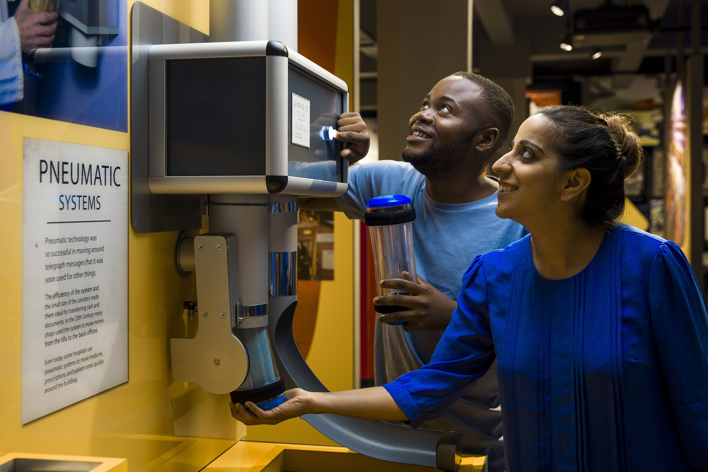 Visitors can send a pneumatic message from one side of the postal museum to the other.
