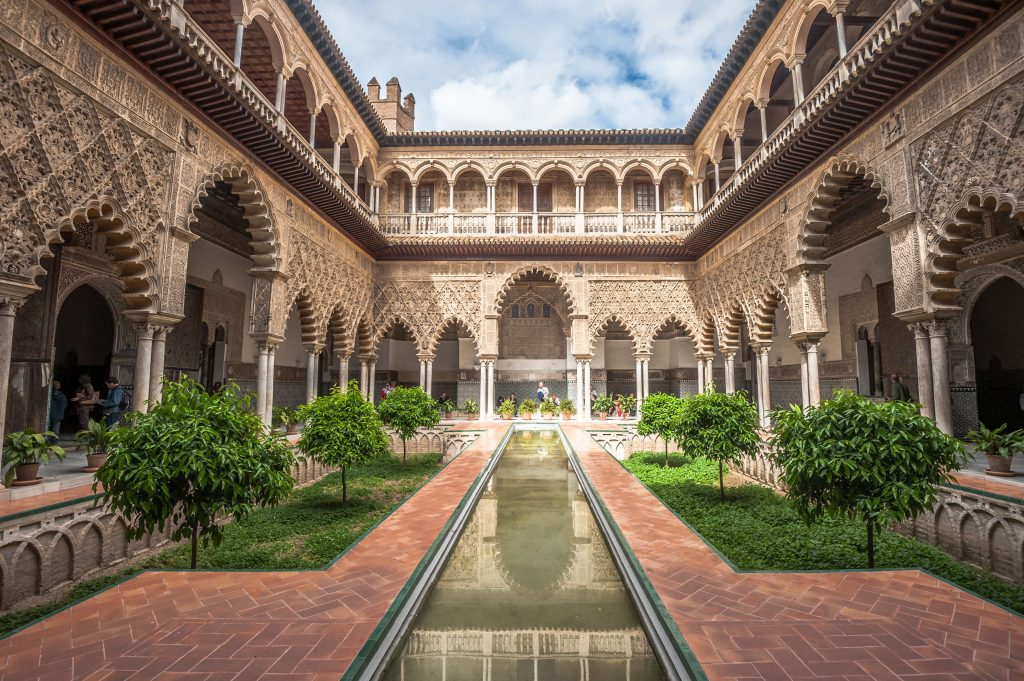 Patio in Royal Alcazars of Seville, Spain, which serves as the home of House Martell in Game of Thrones.