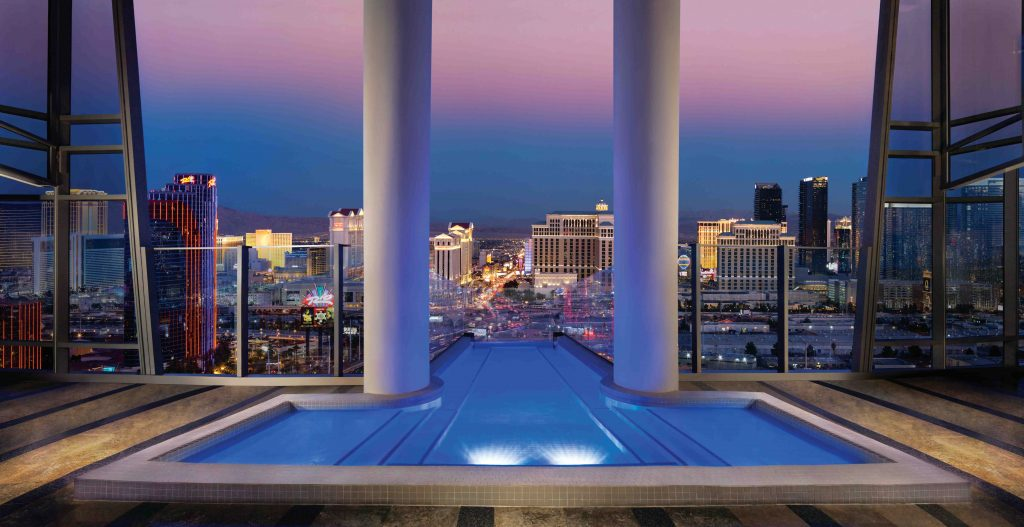 The two-story Sky Villa at Palms Casino Resort in Las Vegas, USA costs $35,000 per night. Image courtesy of Elite Traveler
