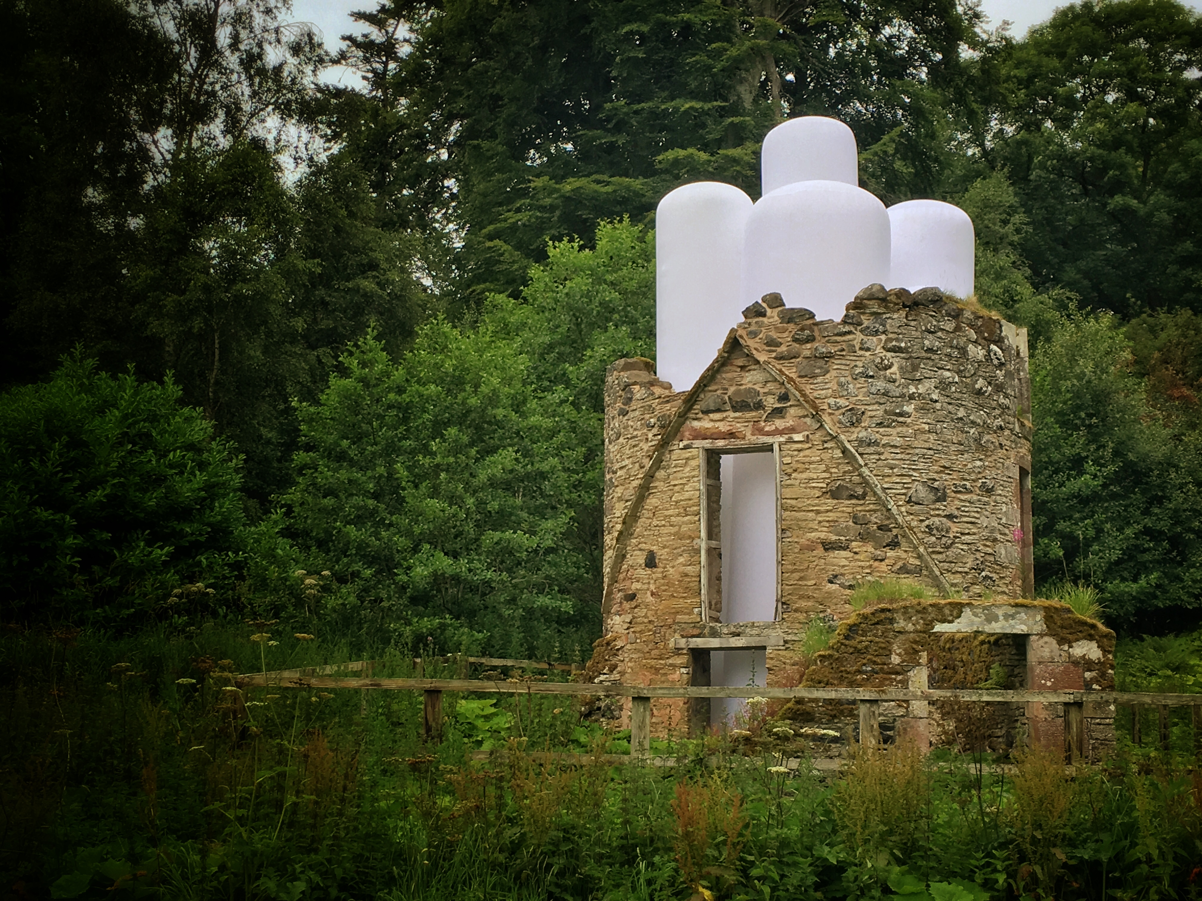"The ""Towered"" installation by Steve Messam at The Pointed installation at Borders Sculpture Park at Mellerstain House."