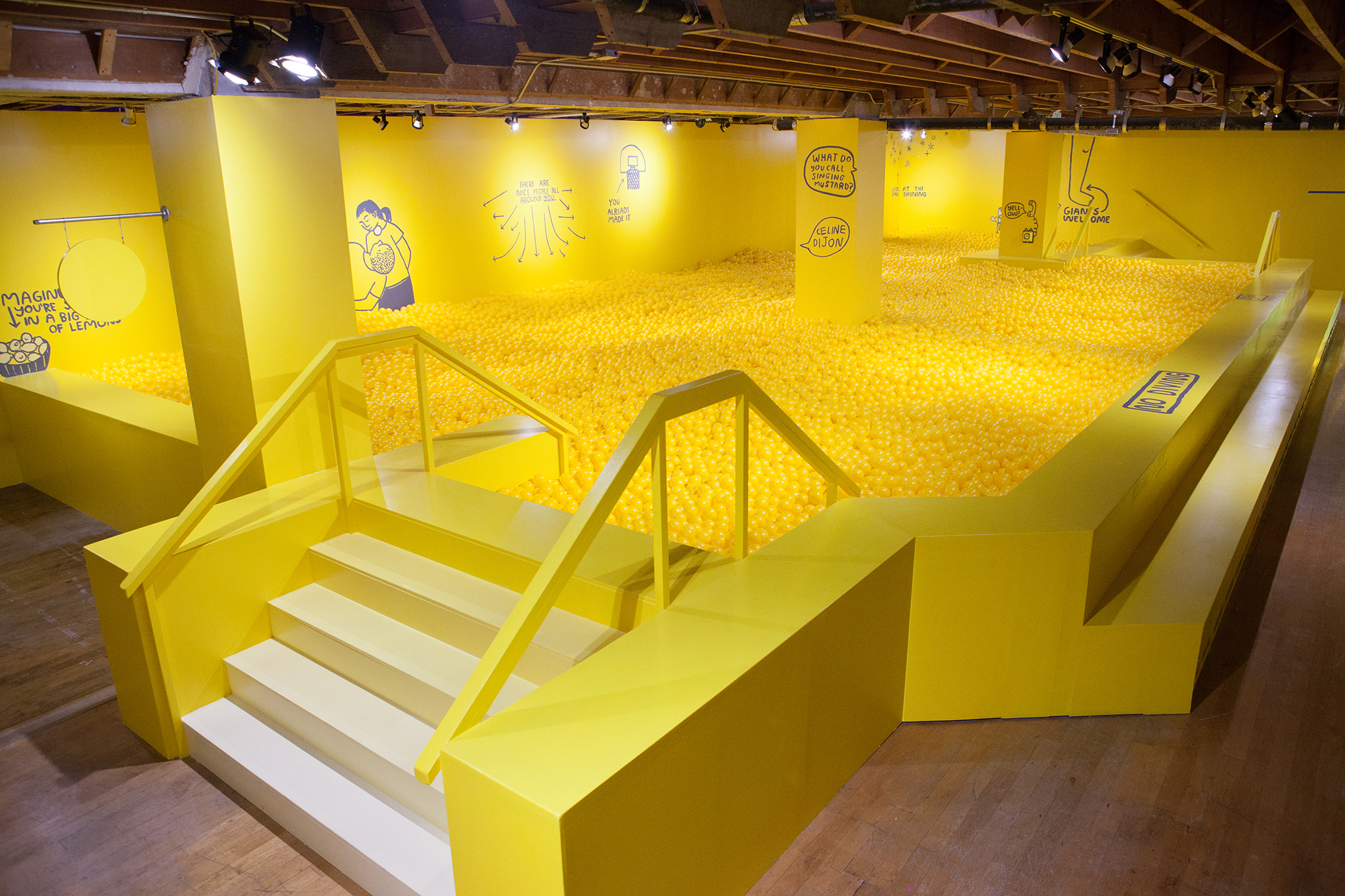 Dive into this giant yellow ball pit at Union Square