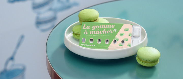 Air France's new gum sits with some macaroons.