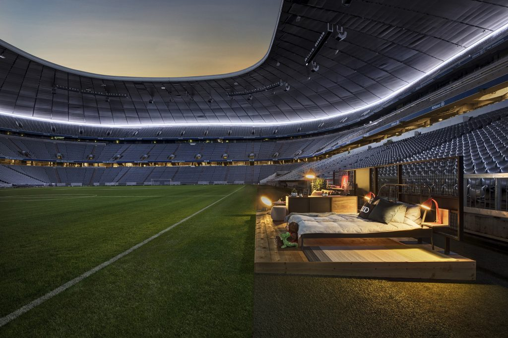 A bedroom has been created in the Allianz Arena.