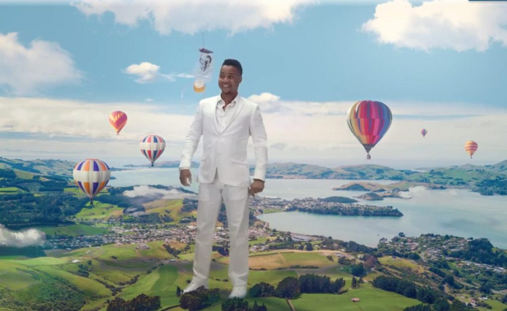 Katie Holmes and Cuba Gooding Jr. take viewers on 'A Fantastical Journey.' Image: Air New Zealand