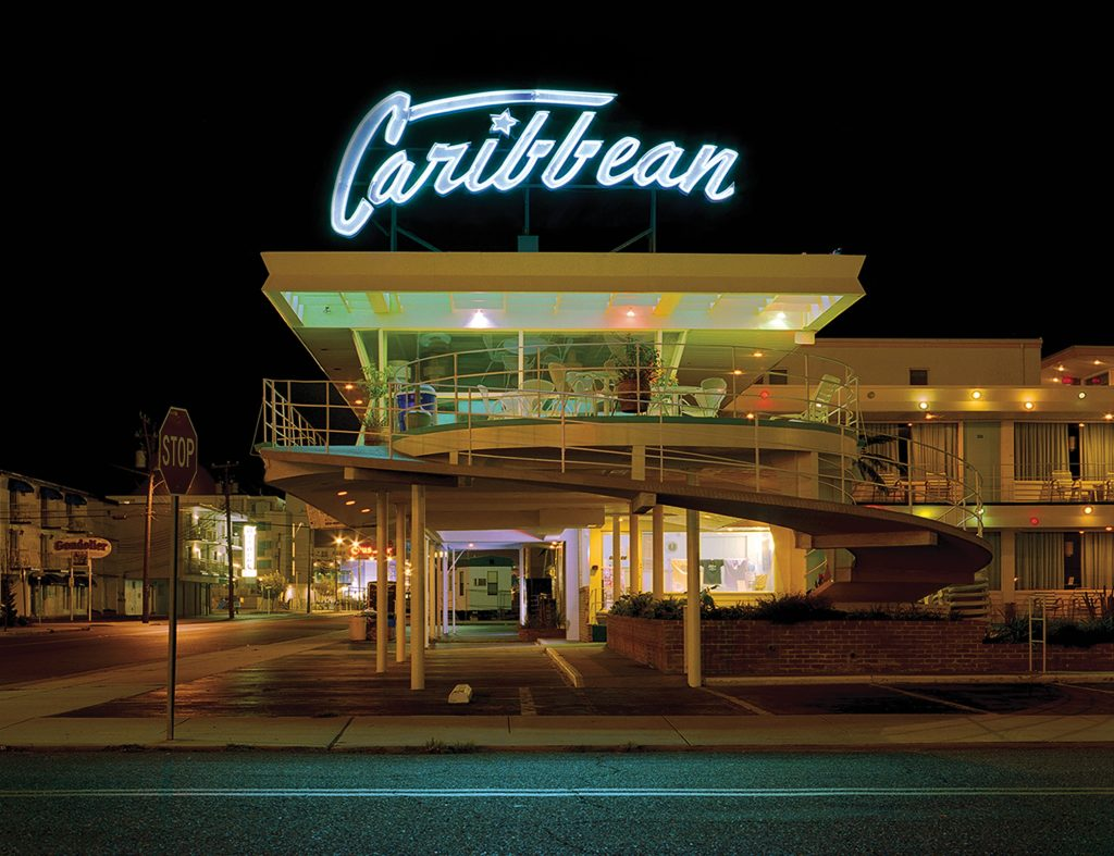 This photograph of the Caribbean, shot in 2007, showcases the distinctive curved ramp leading to the motel's second level.