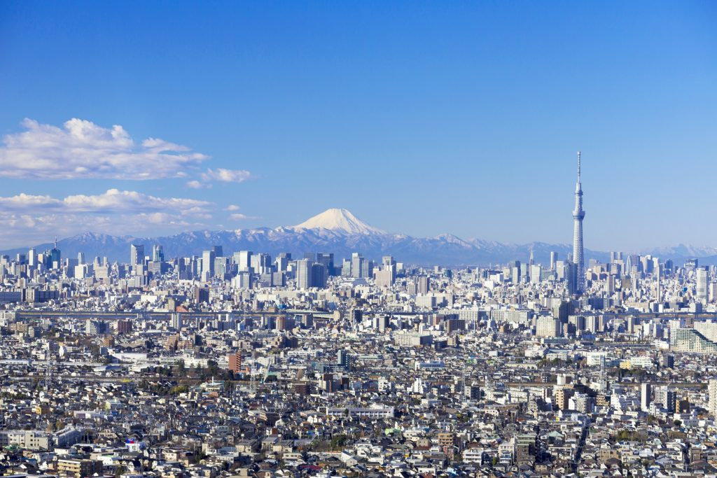 The Tokyo city scape as seen from above