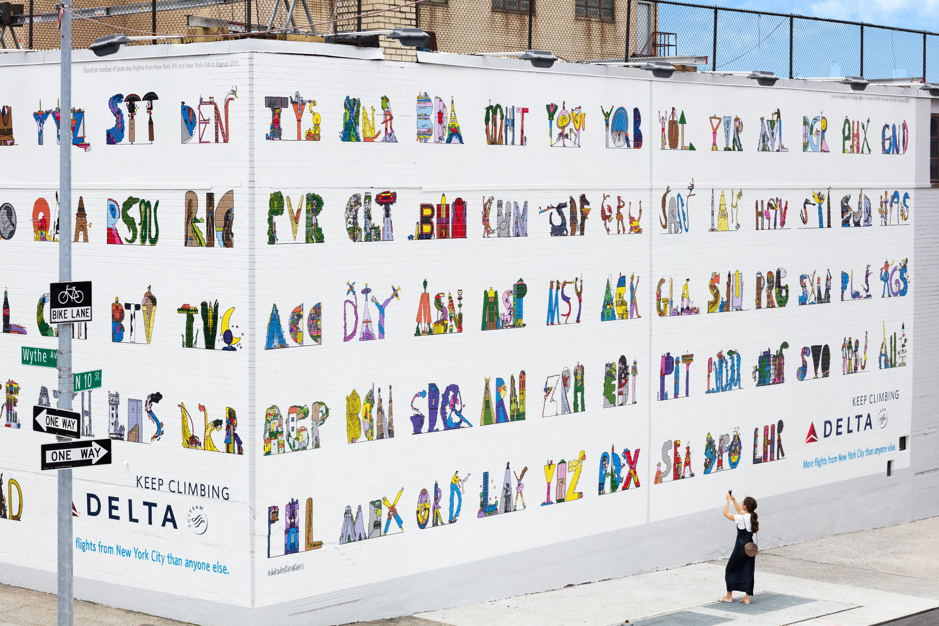 Delta has introduced an Airport Codes wall in Brooklyn. Image: Wieden+Kennedy