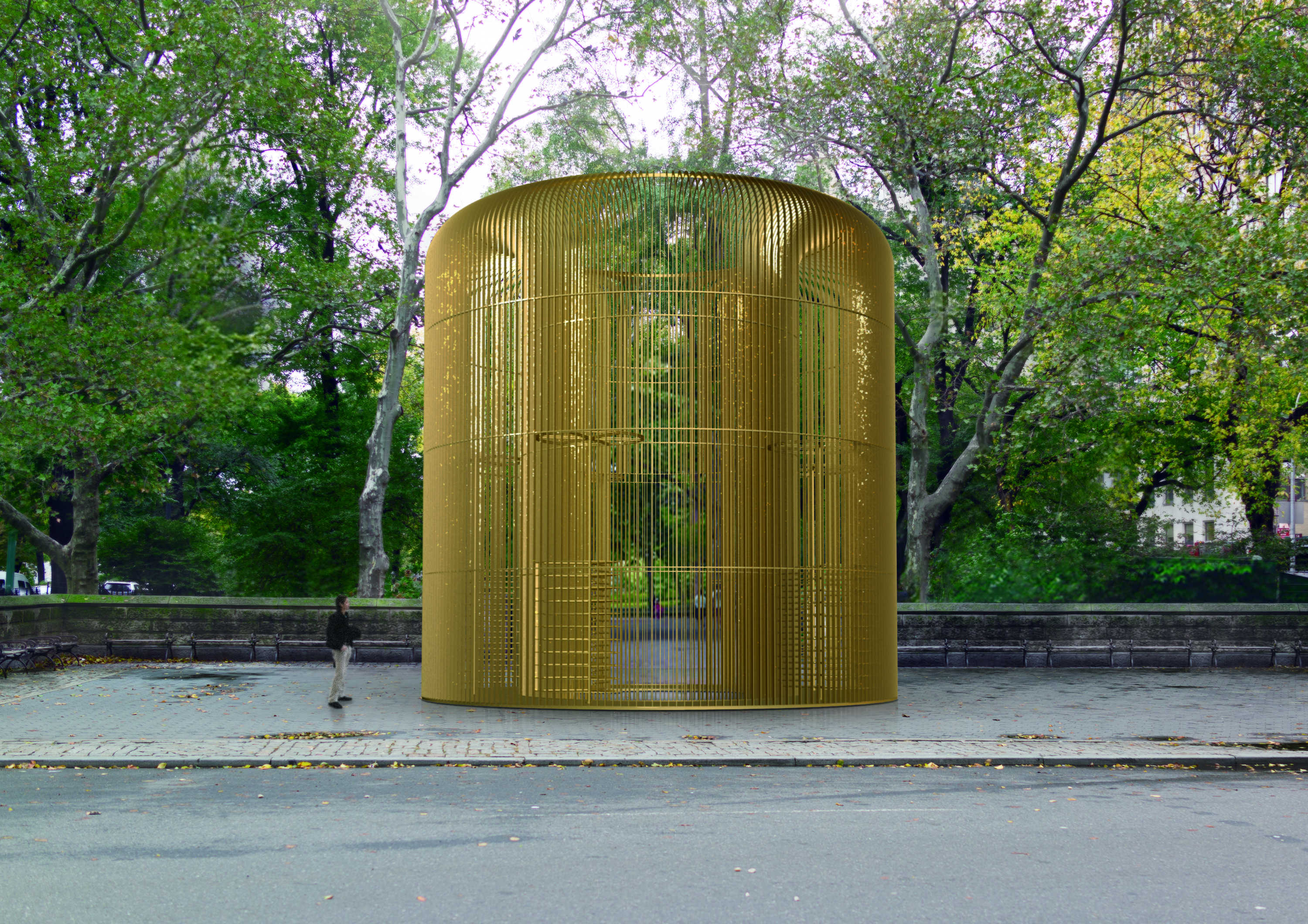 A proposed design for a large golden cage at Doris C. Freedman Places at Central Park.