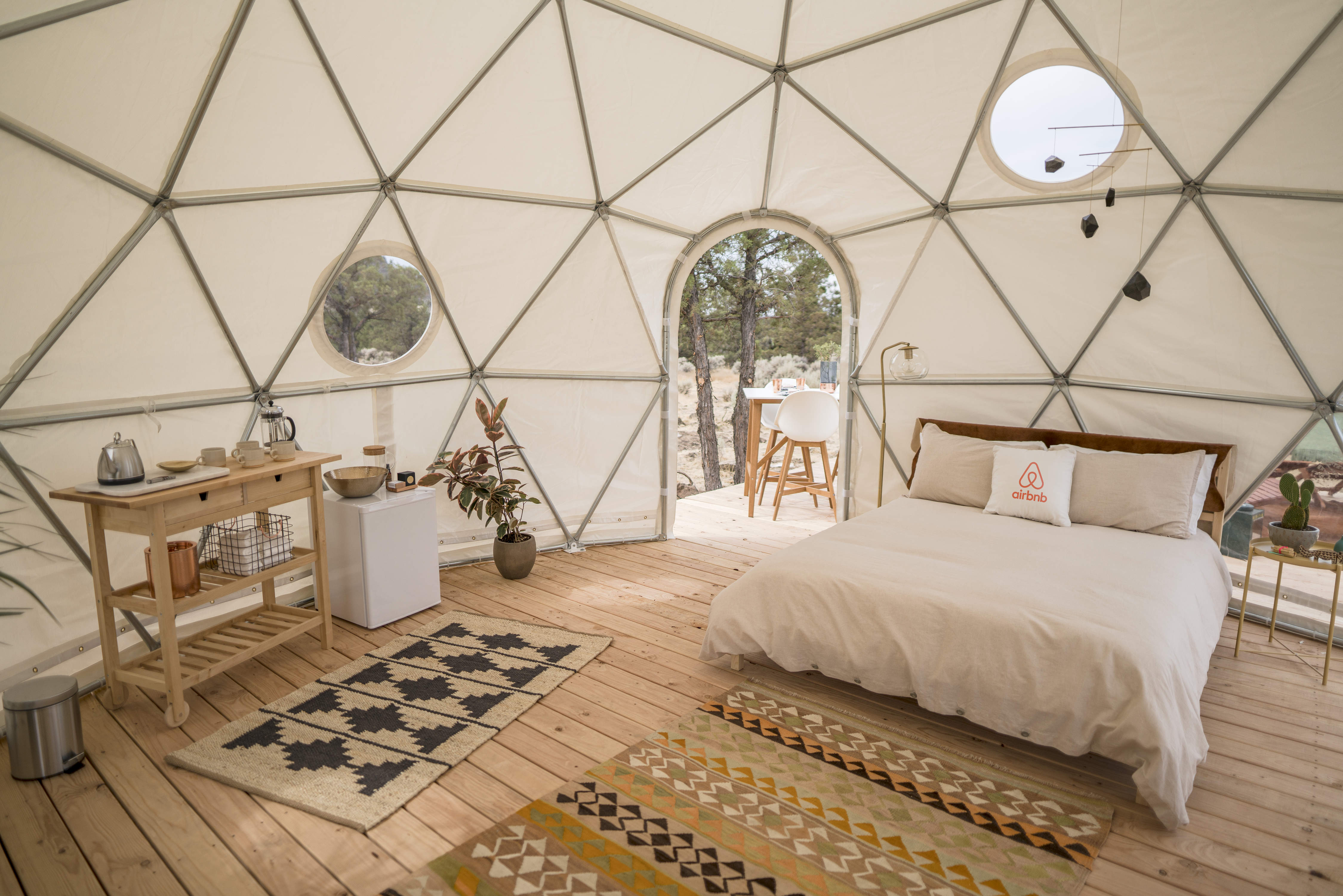 The interior of a geodesic dome in Orgeon as part of the airbnb us solar eclipse competition