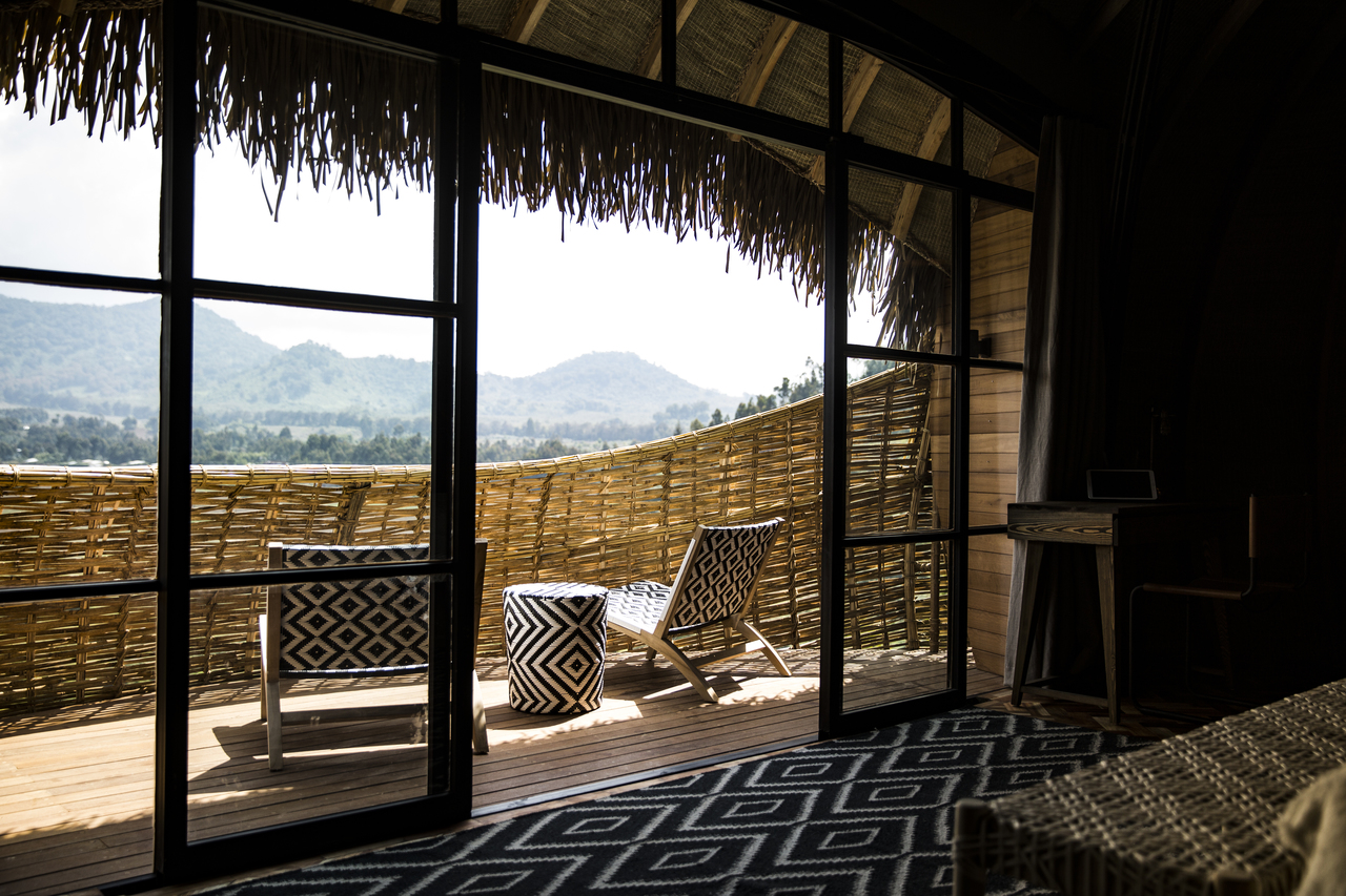 Beautiful patio furniture sits on the balcony of the lodge.