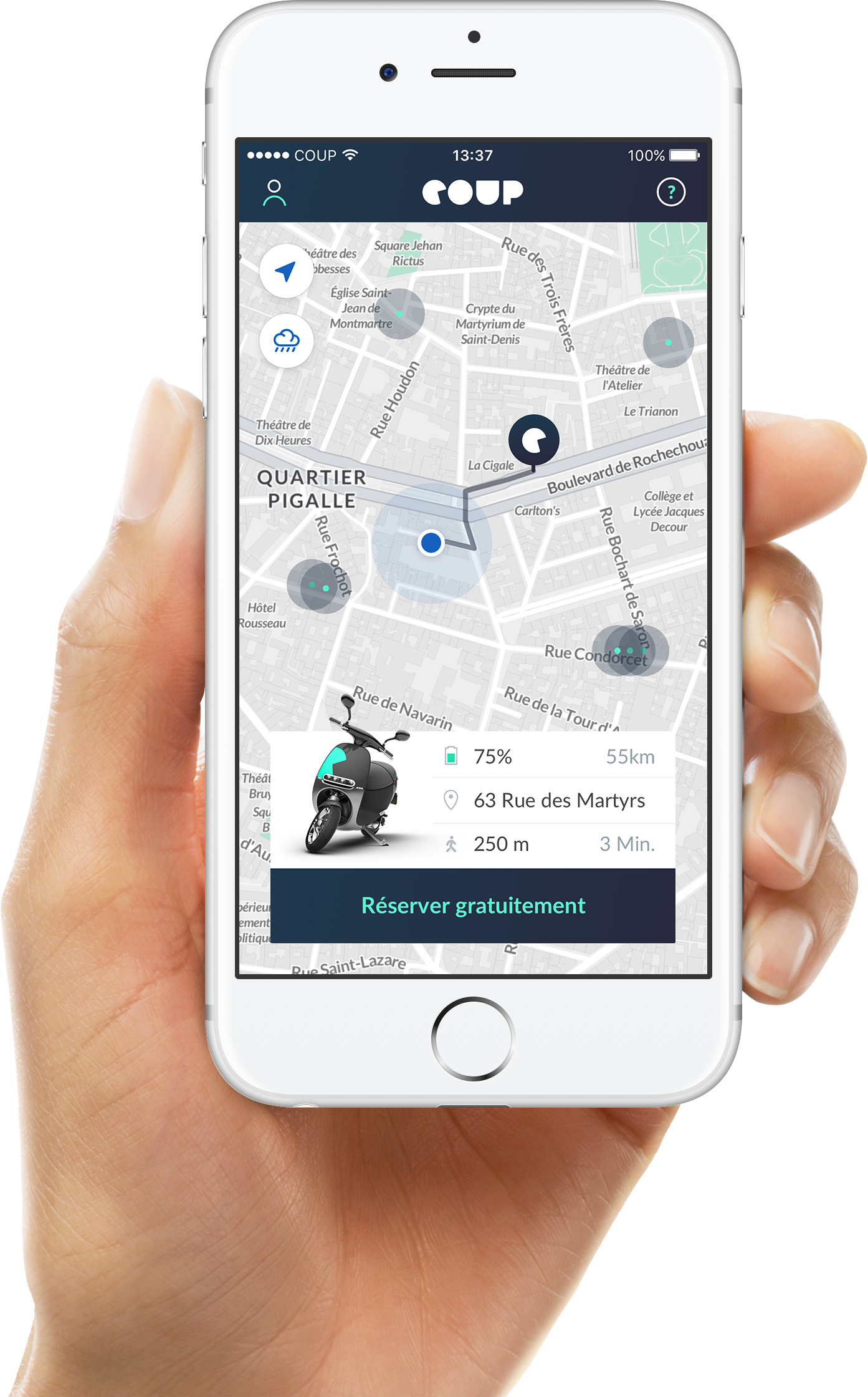 Coup Electric scooter mobile app