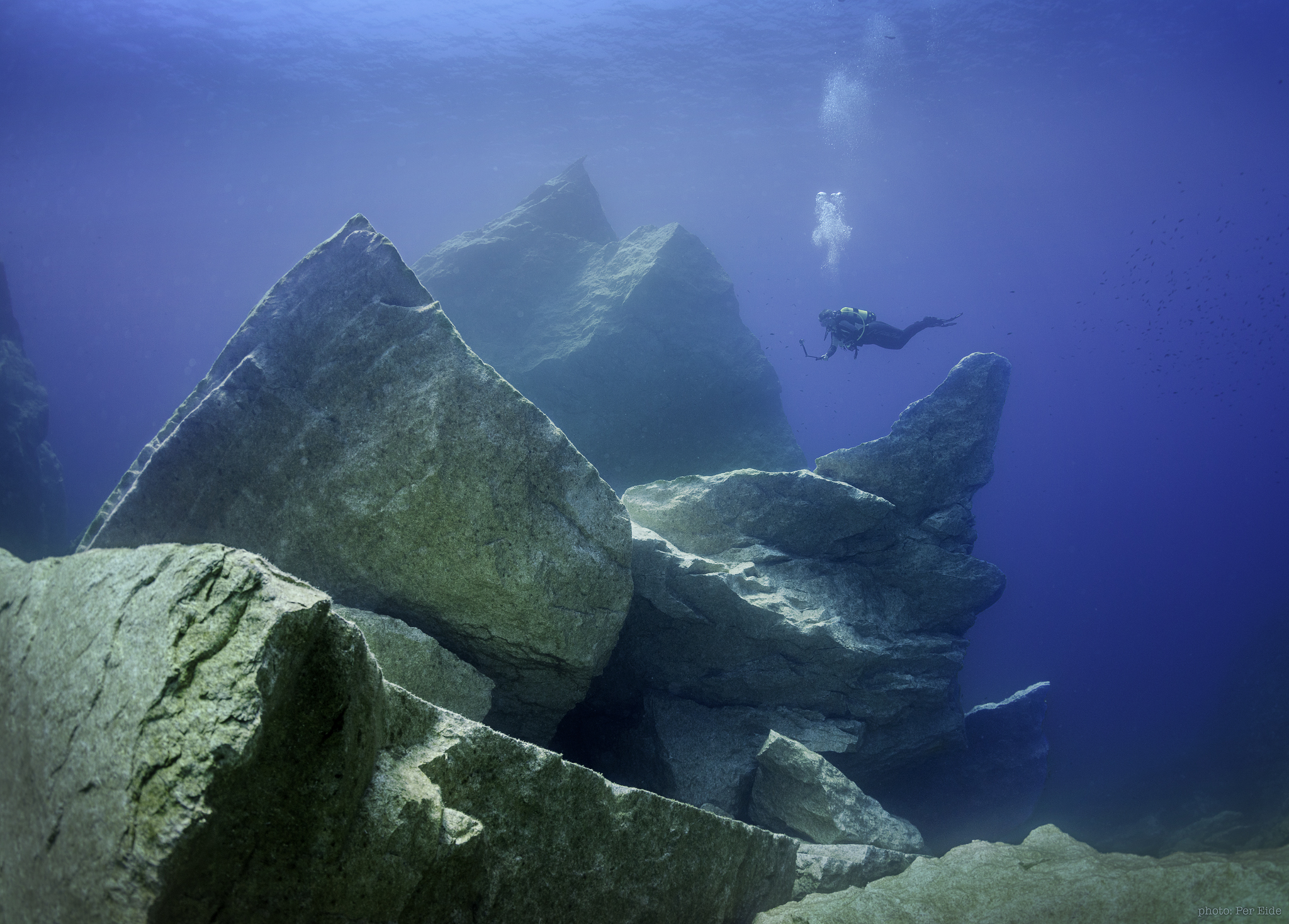Diver exploring the remnants of the Azure Window