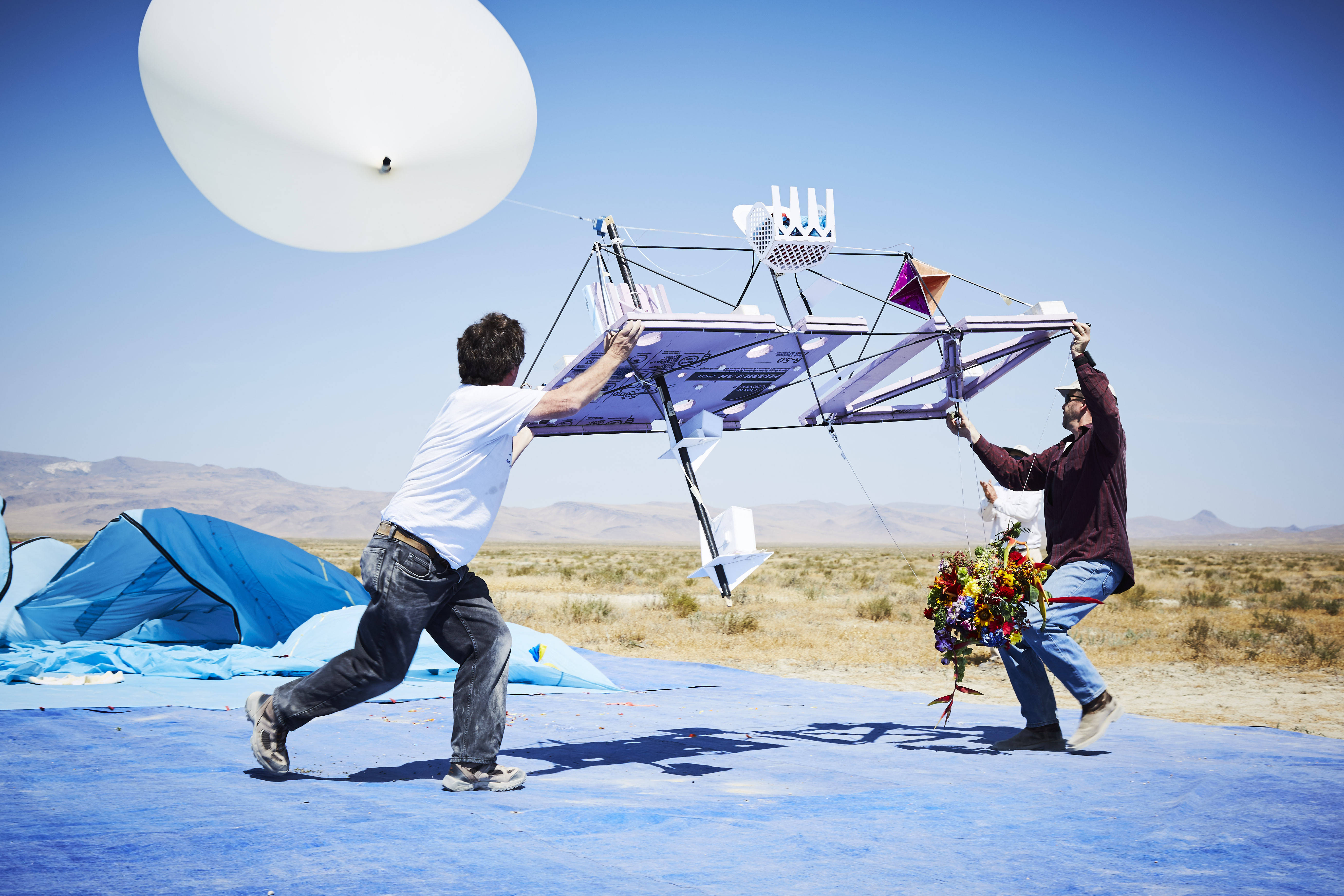 The Exobiotanica team launching a craft in Nevada.