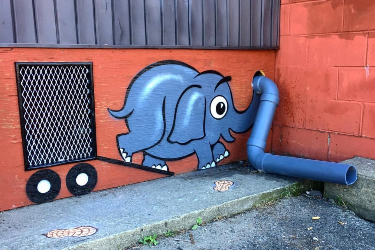 Street artist Tom Bob is leaving whimsical pieces around NYC.