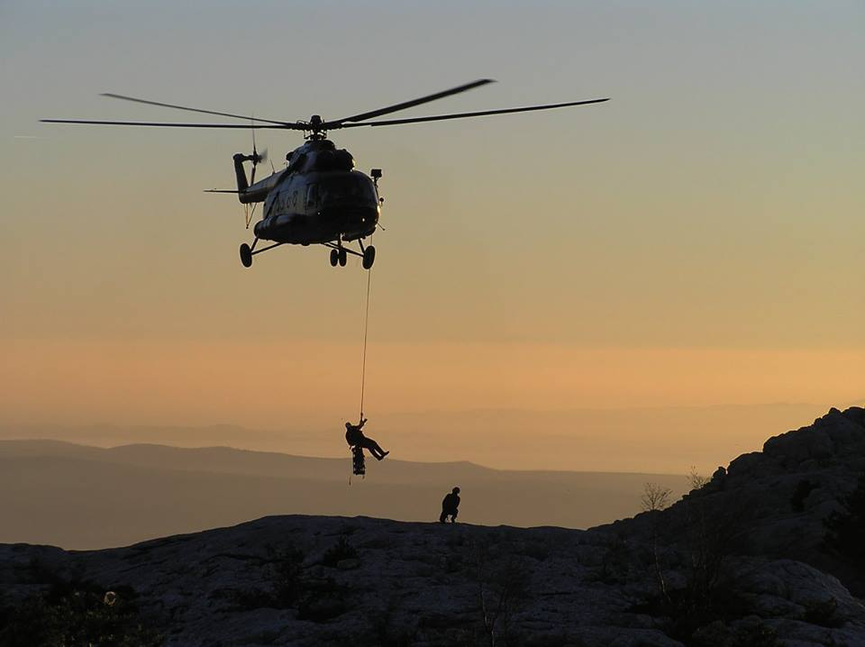A HGSS rescue helicopter during an exercise