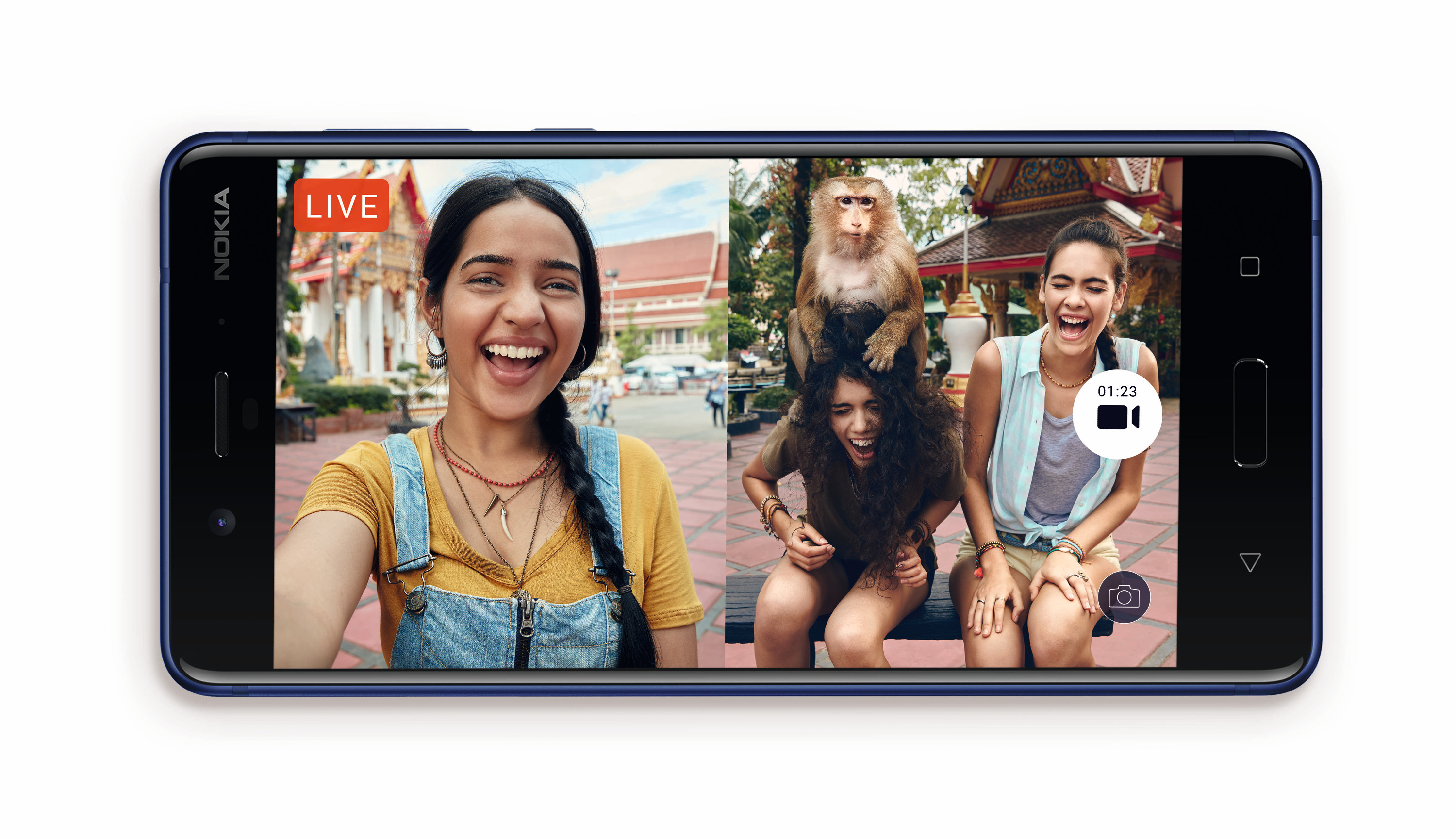 The Nokia 8 uses two cameras, splitting the screen for photos and videos.