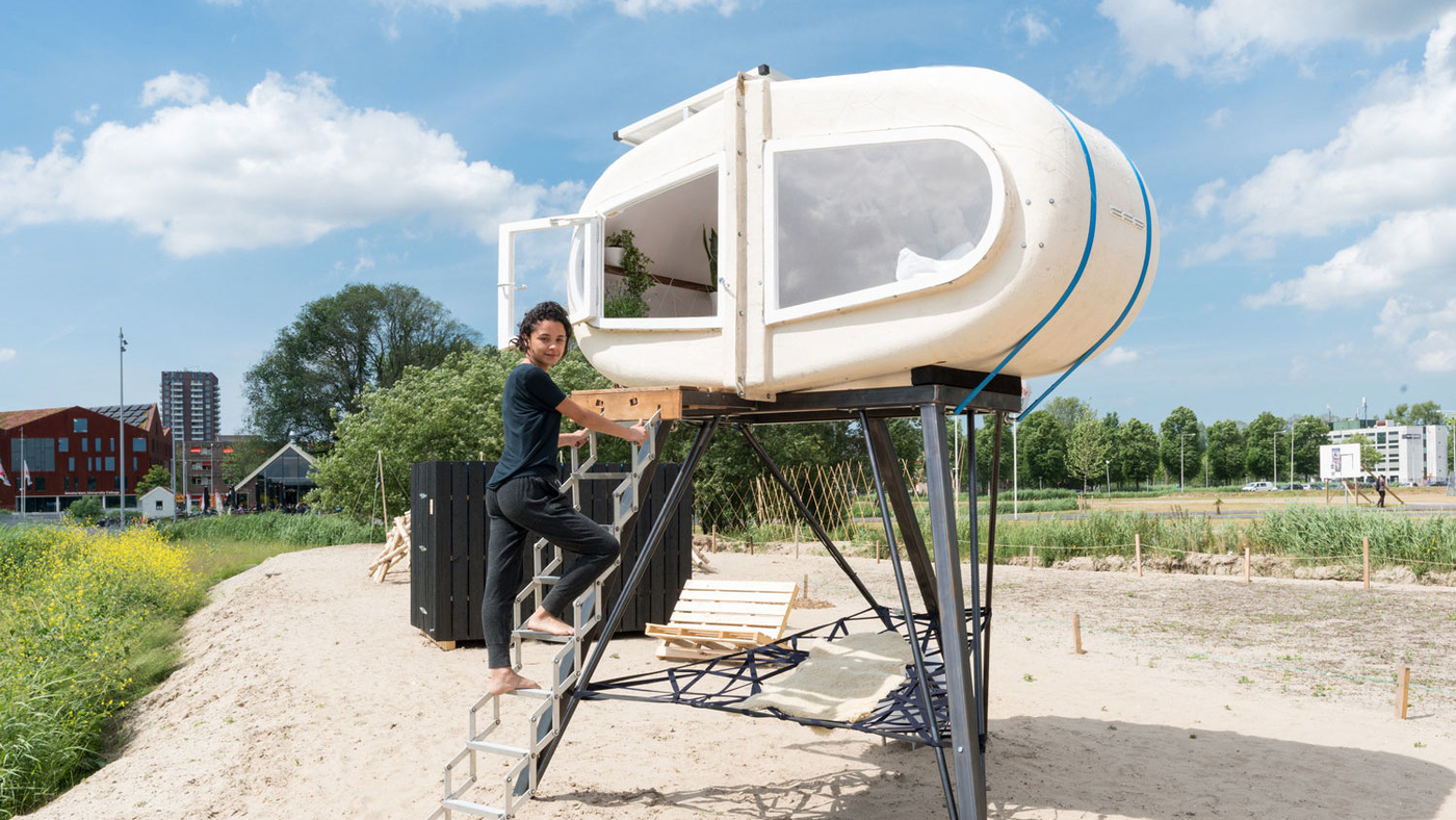 Wake up refreshed in this unique sleeping pod