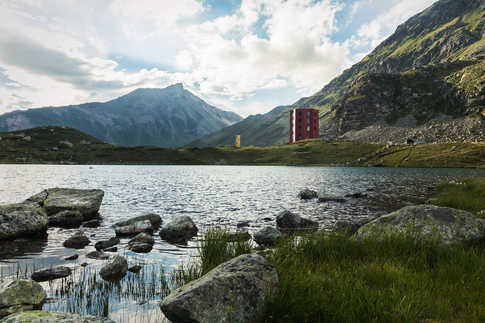 The building stands at an altitude of 2,300 metres high at the Julier Pass in the Swiss Alps.