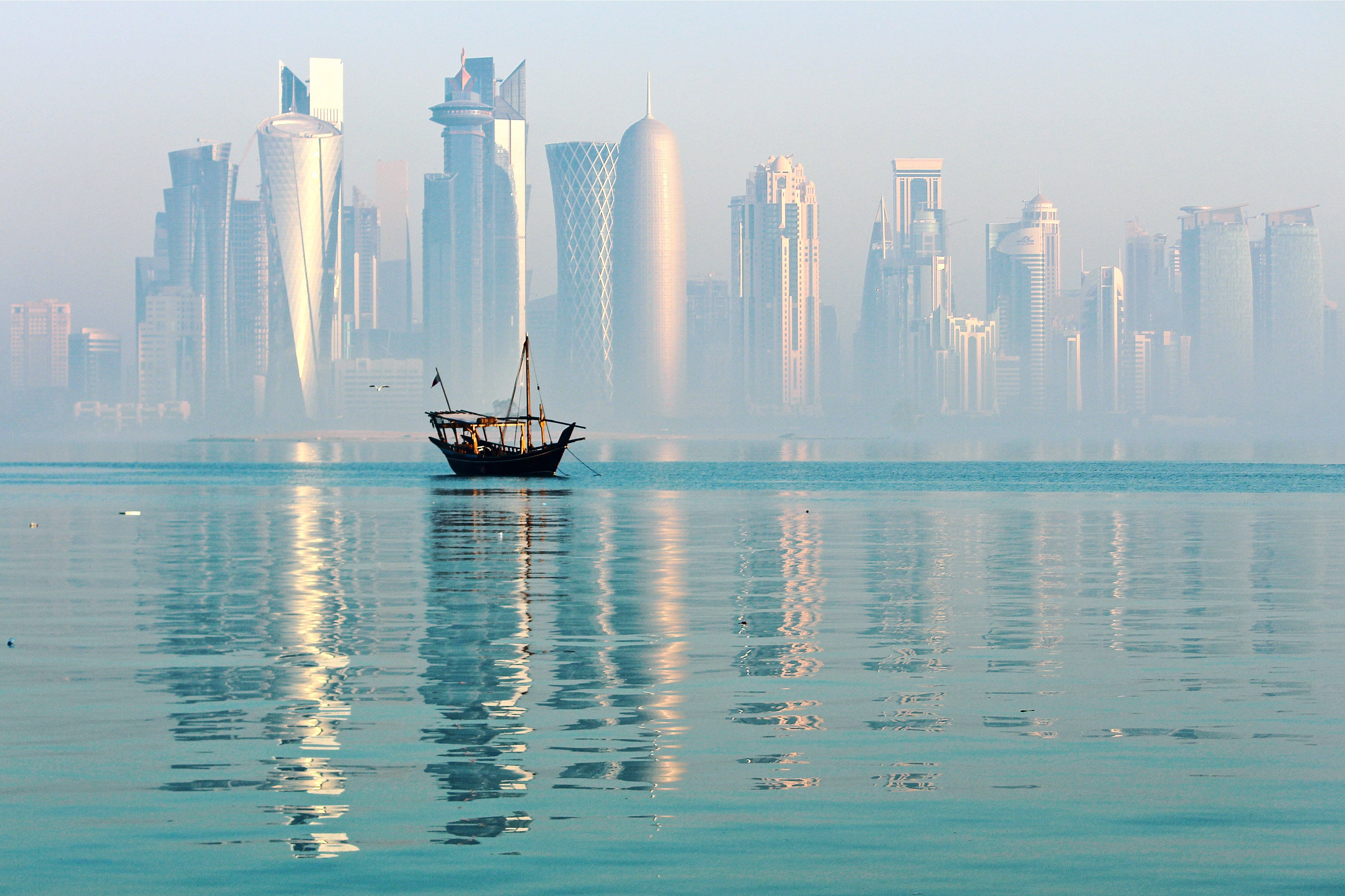 Doha seen from the sea.