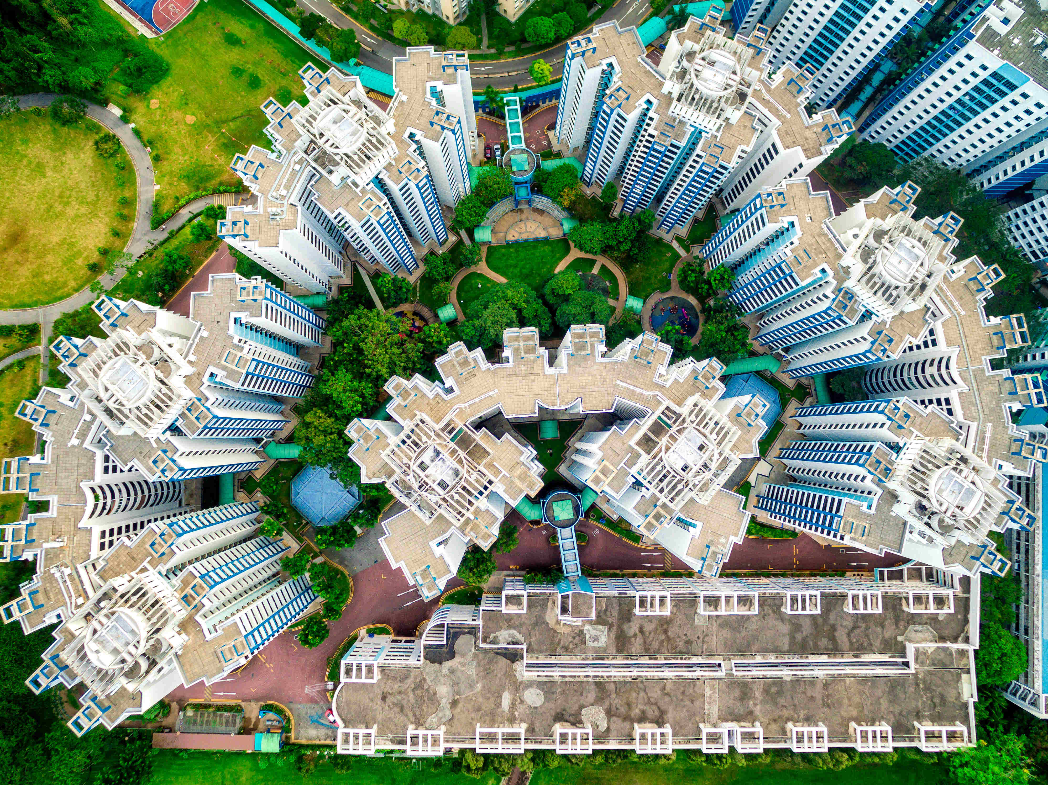 A circular formation of apartment buildings in Singapore.
