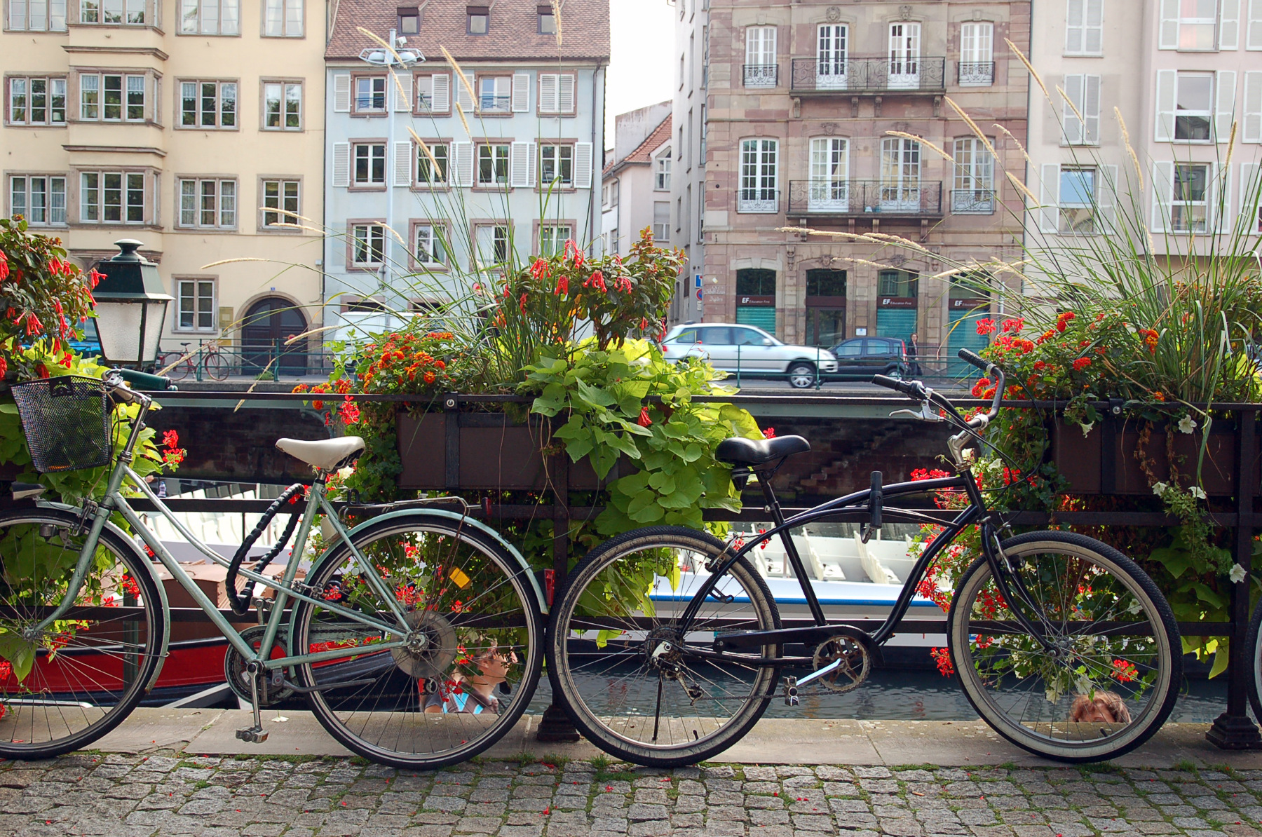 Bikes along the river in Strasbourg, France.