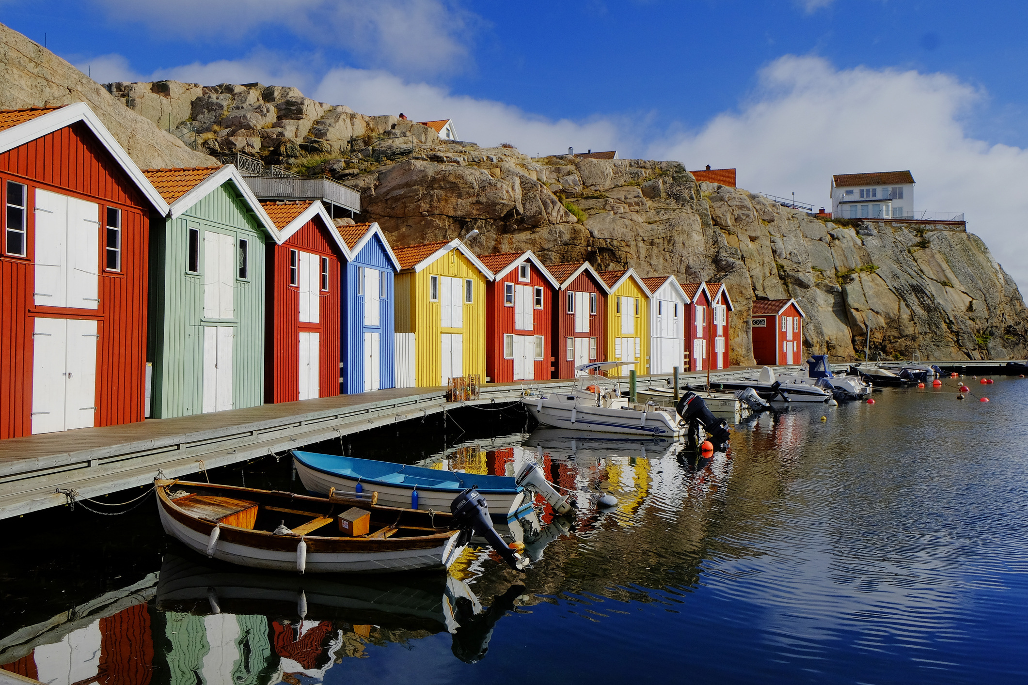 Fishing huts in West Sweden.