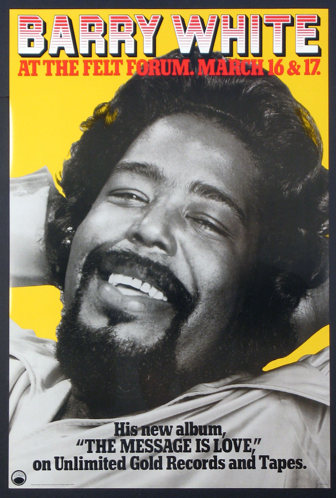 A poster for Barry White live at The Fleet Forum in New York.