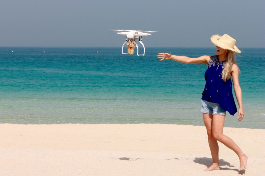 A Drone Delivered Iced Coffee To Beach Goers In Dubai