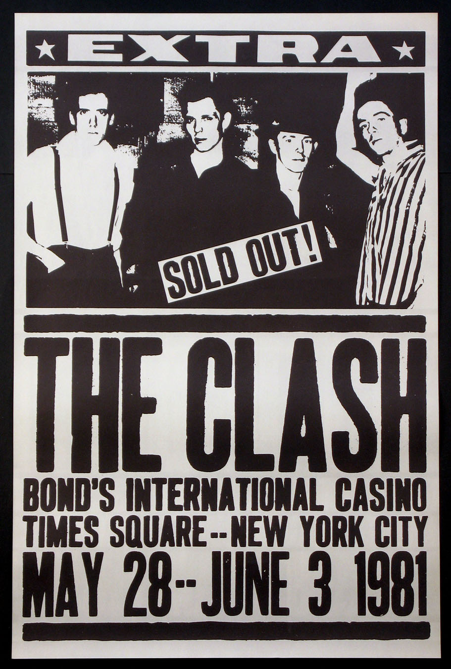 A poster for The Clash at Bond's International Casino at Times Square in 1981.