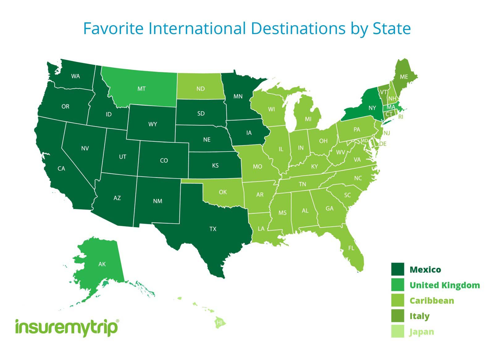 Map of popular destinations with US travellers