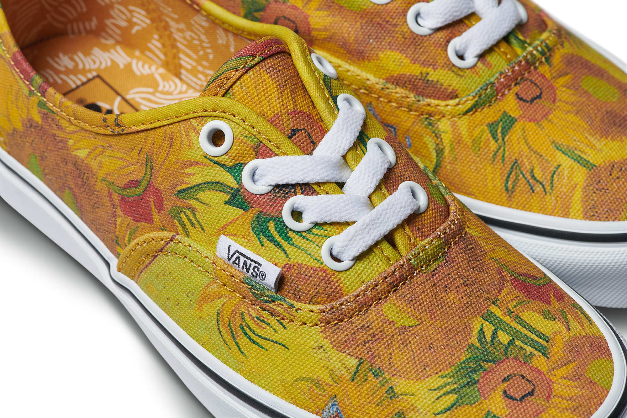 1e82b17673 A pair of Vans with the sunflowers made famous by van Gogh. Image by Vans x Van  Gogh Museum