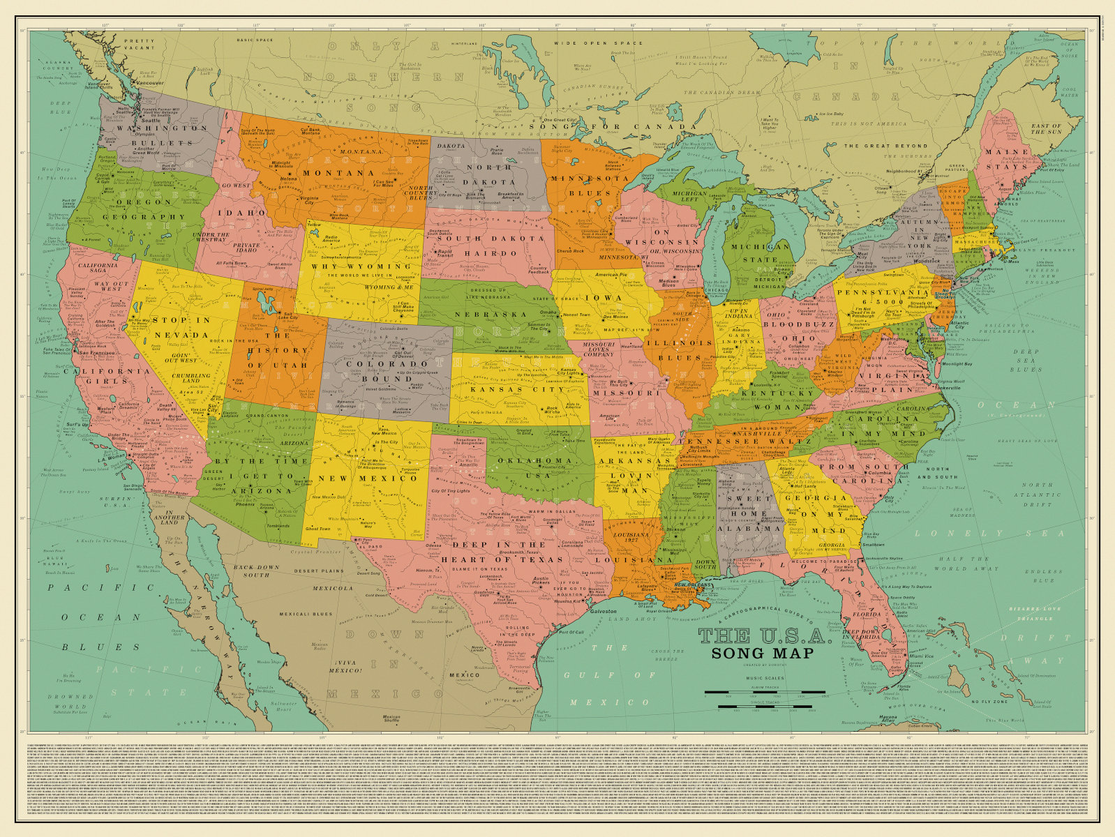 A new map of the US is made up entirely of song titles ...