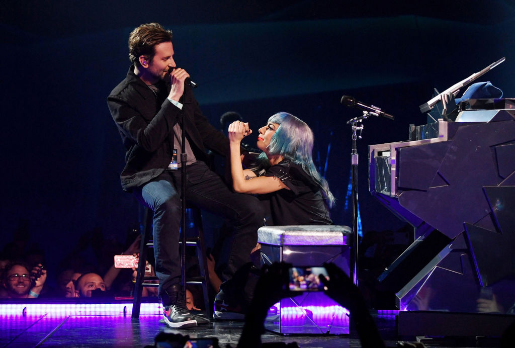 "Lady Gaga performs ""Shallow"" with Bradley Cooper at Park Theater in Las Vegas."