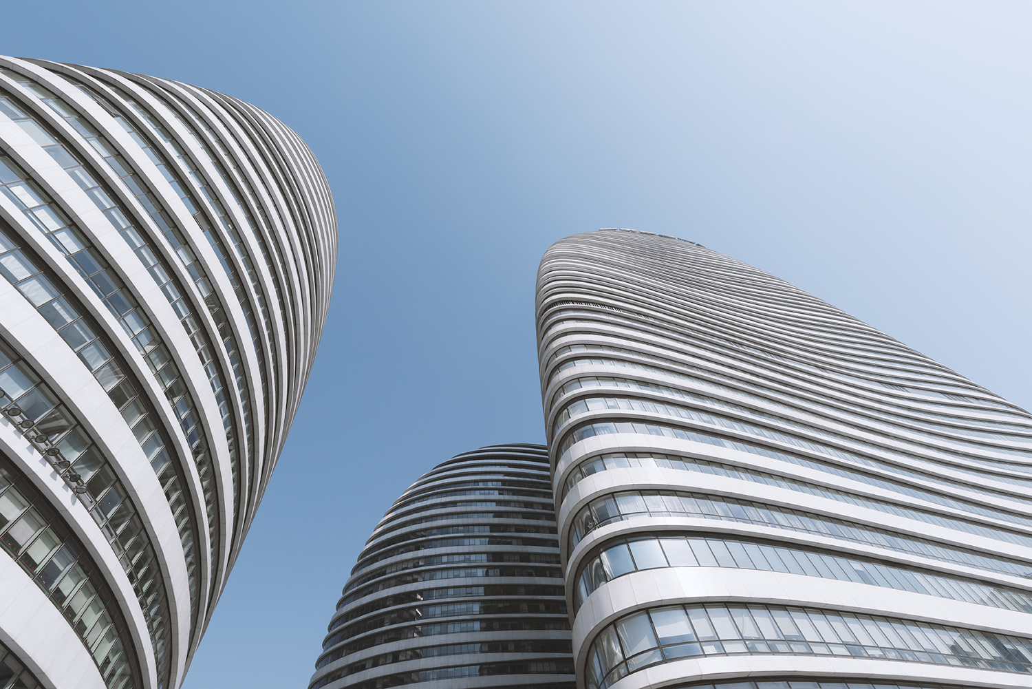 The curved facade of a Beijing building.