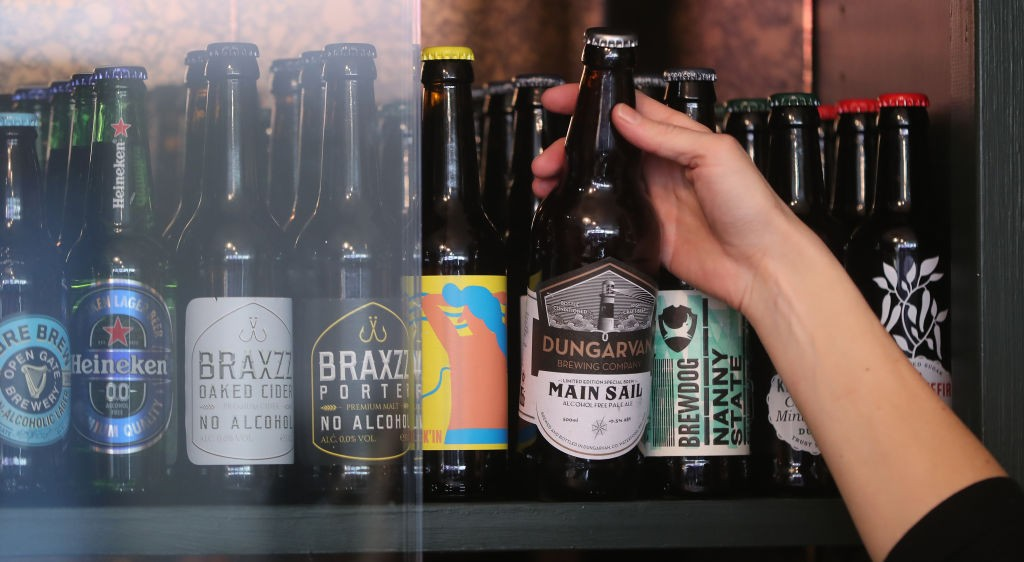 A display of non-alcoholic beers.