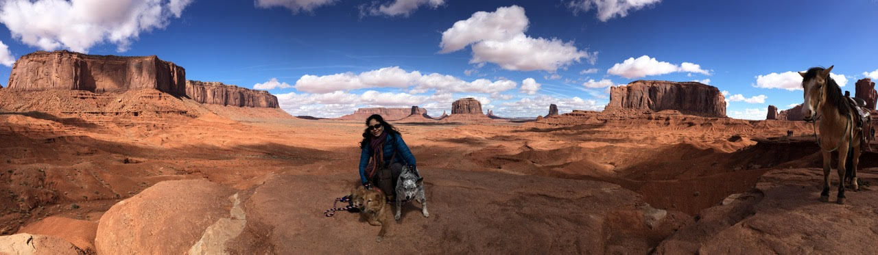 A woman and two dogs in the Grand Canyon.
